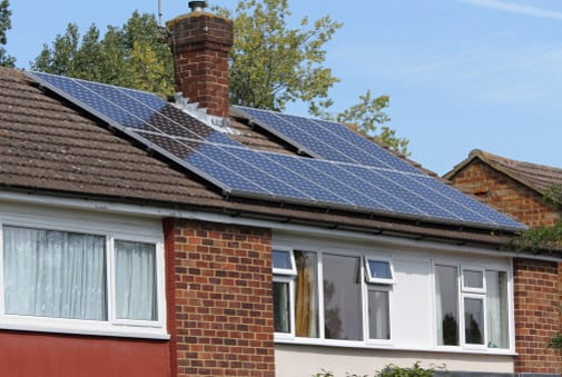 Solar panels on semi-detached house