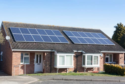 Solar panels on bungalow